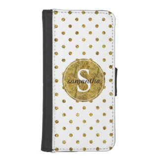 Chic Gold Glam Dots Monogram iPhone SE/5/5s Wallet