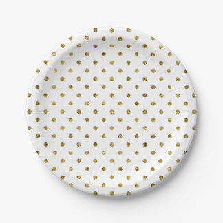 Chic Gold Glam Polka Dots Paper Plate
