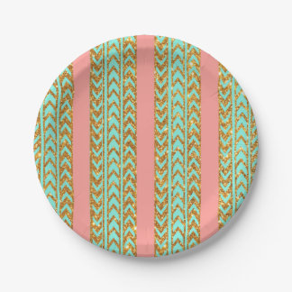 Chic Gold Glitter Arrows Pink Turquoise Stripes Paper Plate
