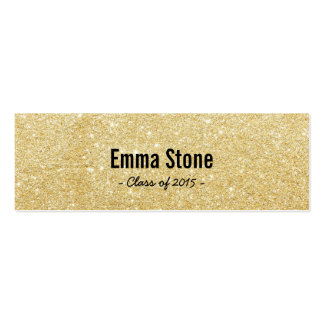 Chic Gold Glitter Graduation Name Card Insert Double-Sided Mini Business Cards (Pack Of 20)