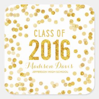Chic Gold Glitter Graduation Square Sticker