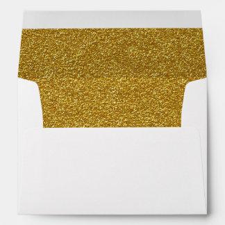 Chic Gold Glitter Lined Custom Wedding Envelope
