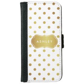 Chic Gold Glitter Polka Dots - Girly Stylish iPhone 6 Wallet Case