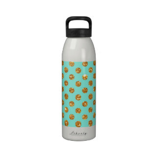 Chic Gold Glitter Polka Dots Pattern On Turquoise Water Bottles