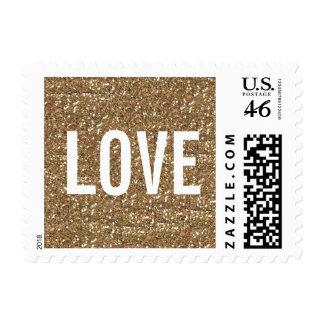 CHIC GOLD GLITTER PRINT LOVE POSTAGE STAMP