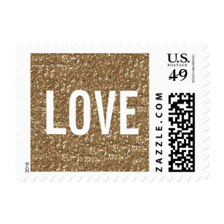 CHIC GOLD GLITTER PRINT LOVE POSTAGE STAMP