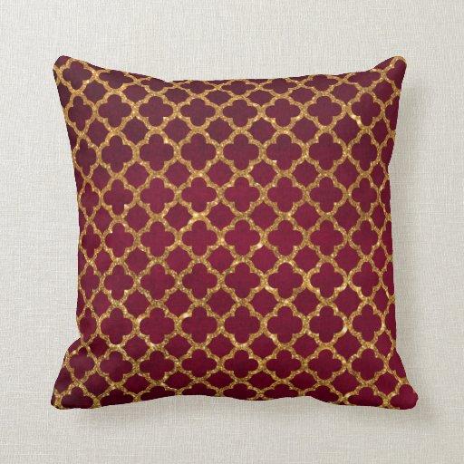 Chic Gold Glitter Quatrefoil Girly Red Burgundy Throw Pillows