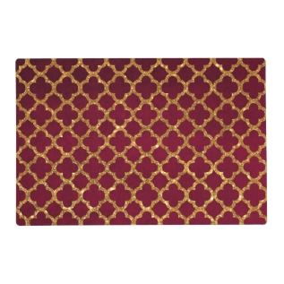 Chic Gold Glitter Quatrefoil Girly Red Burgundy Placemat at Zazzle