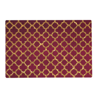 Chic Gold Glitter Quatrefoil Girly Red Burgundy Placemat