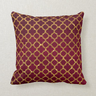 Chic Gold Glitter Quatrefoil Girly Red Burgundy Throw Pillow