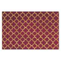 Chic Gold Glitter Quatrefoil Girly Red Burgundy Tissue Paper