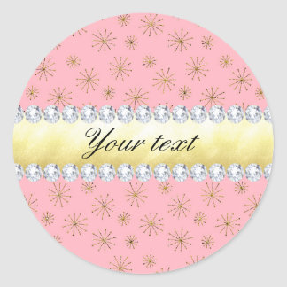 Chic Gold Glitter Snowflakes Pink Classic Round Sticker