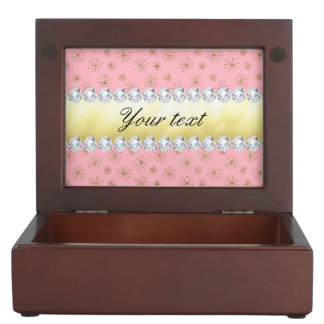 Chic Gold Glitter Snowflakes Pink Keepsake Box