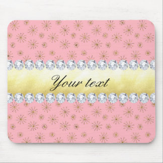 Chic Gold Glitter Snowflakes Pink Mouse Pad