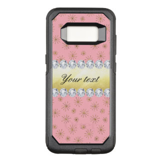 Chic Gold Glitter Snowflakes Pink OtterBox Commuter Samsung Galaxy S8 Case