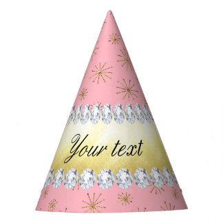 Chic Gold Glitter Snowflakes Pink Party Hat