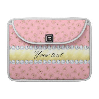 Chic Gold Glitter Snowflakes Pink Sleeve For MacBook Pro