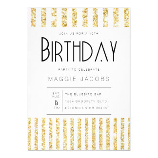 Chic Gold Glitter Stripes Birthday Party Card