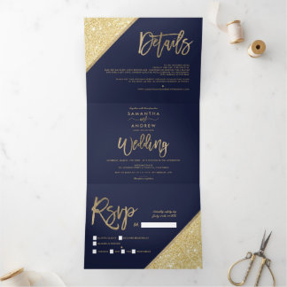 Chic gold glitter typography navy blue wedding Tri-Fold invitation