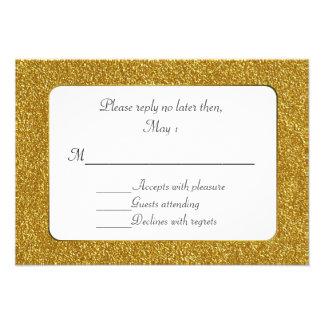Chic Gold Glitter Wedding RSVP Card