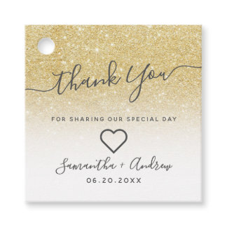 Chic gold glitter white thank you wedding favor tags