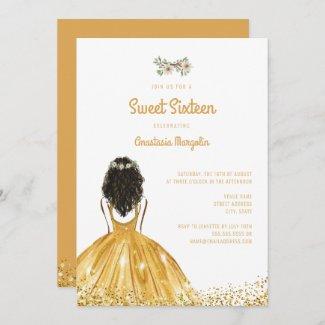 Chic Gold Glitter Yellow Dress Floral Sweet 16 Invitation