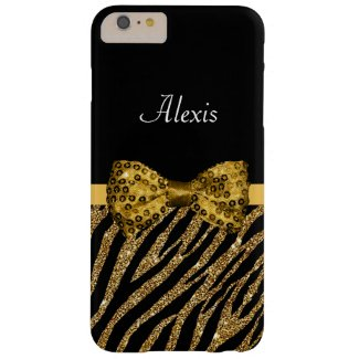 Chic Gold Glitter Zebra Print Luxe Bow With Name Barely There iPhone 6 Plus Case
