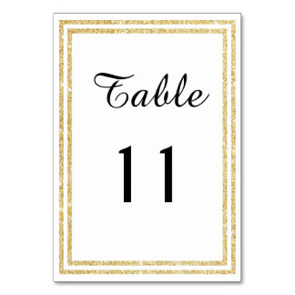 Chic Gold Glittered Trim - Table Card