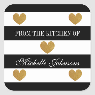 Chic gold heart striped From the kichen of sticker