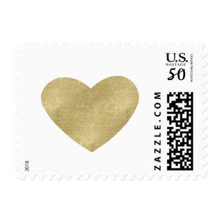 Chic Gold Heart Wedding Postage