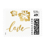 Chic Gold Hibiscus Love Wedding Stamp