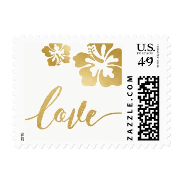 Beach Themed Chic Gold Hibiscus Love Wedding Stamp