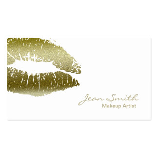 Chic Gold Kiss Makeup Artist Double-Sided Standard Business Cards (Pack Of 100)