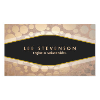 Chic Gold Leaf Circles Beige Linen Look Fashion Double-Sided Standard Business Cards (Pack Of 100)