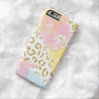 Chic gold leopard pattern watercolor brushstrokes barely there iPhone 6 case