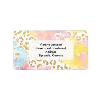 Chic gold leopard pattern watercolor brushstrokes label