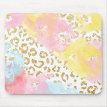 Chic gold leopard pattern watercolor brushstrokes mouse pad