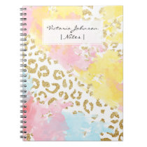Chic gold leopard pattern watercolor brushstrokes notebook