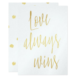 """Chic Gold """"Love always wins"""" Card"""