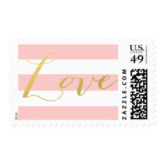 CHIC GOLD LOVE | PINK STRIPE POSTAGE