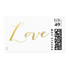 Chic Gold Love Postage at Zazzle