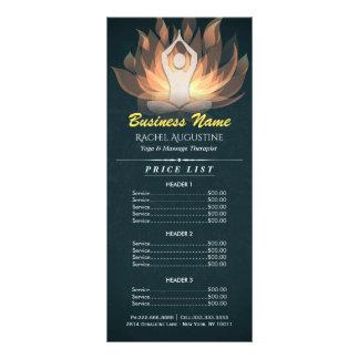 Chic Gold Mandala Lotus Yoga Meditation Price List Rack Card