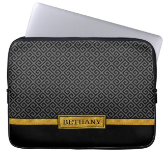 Chic Gold Name and Black Greek Key Pattern Computer Sleeves