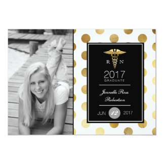 Chic Gold Nursing Graduation Party | Announcement