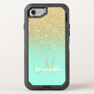 Chic gold ombre mint green block OtterBox defender iPhone 8/7 case