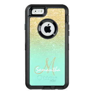 Chic gold ombre mint green block personalized OtterBox iPhone 6/6s case