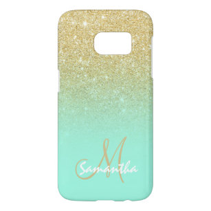 38a78a0a654f Chic gold ombre mint green block personalized samsung galaxy s7 case