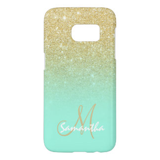 Chic gold ombre mint green block personalized samsung galaxy s7 case