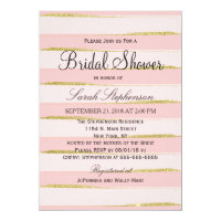 Chic Gold Pink Stripes Bridal Shower Invitations