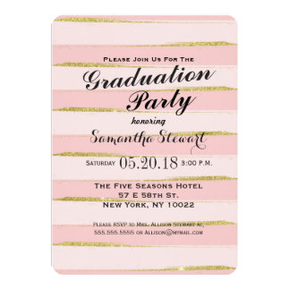 Chic Gold Pink Stripes Graduation Party Invitation